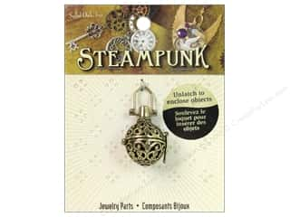 Solid Oak Pendant Steampunk Tea Ball Antique Gold