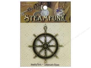 Solid Oak Pendant Steampunk Ship's Wheel Antique Gold