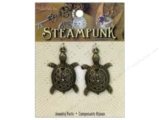 Solid Oak Charm Steampunk Sea Turtles Antique Gold