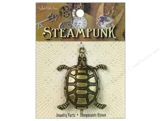 pendants jewelry: Solid Oak Pendant Steampunk Sea Turtle Large Antique Gold