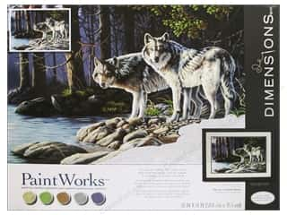 "Grey: Paintworks Paint By Number 20""x 14"" Gray Wolves"