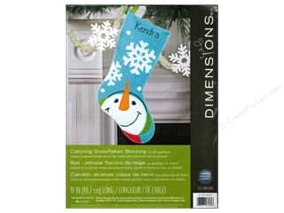 Projects & Kits Winter: Dimensions Applique Kit Felt Catching Snowflakes Stocking