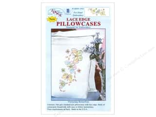 Jack Dempsey Flowers: Jack Dempsey Pillowcase Lace Edge White Fluttering Butterflies