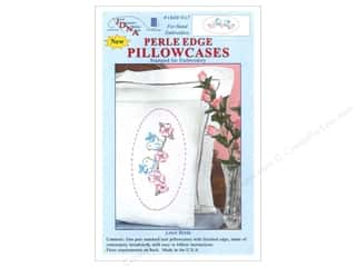 Jack Dempsey Jack Dempsey Pillowcase Perle Edge White: Jack Dempsey Pillowcase Perle Edge White Love Birds
