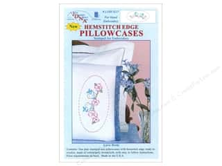 oval hoop: Jack Dempsey Pillowcase Hemstitched White Love Birds