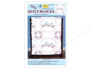 "Stamped Goods $6 - $8: Jack Dempsey Quilt Block 18"" 6pc White Love Birds"