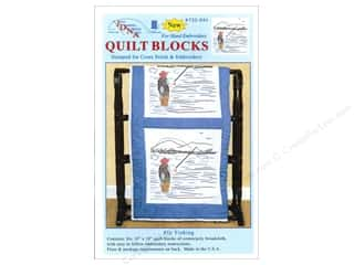 "Quilted Fish, The: Jack Dempsey Quilt Block 18"" White Fly Fisherman"