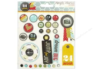 Brads Metal Embellishments: Simple Stories Decorative Brads 24/Seven