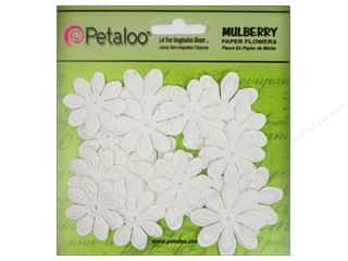 Petaloo Mulberry Daisy Mini Embossed 24pc White