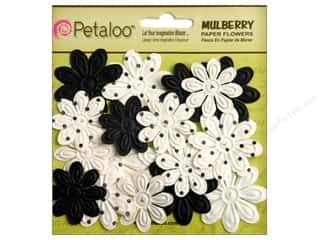 Petaloo Mulberry Daisy Mini Embossed 24pc Black White