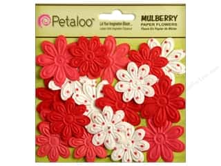 Petaloo Mulberry Daisy Mini Embossed 24pc Red