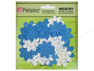 Petaloo Mulberry Daisy Mini Emb 24pc Marine Blue