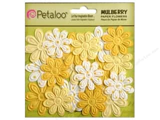 Petaloo Mulberry Daisy Mini Emb 24pc Tulip Yellow