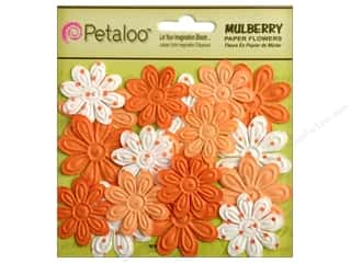 Petaloo Mulberry Daisy Mini Embossed 24pc Tangerine