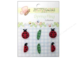 Novelty Buttons: Buttons Galore Button Spring Fling Ladybugs