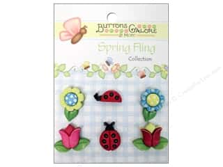 Sew-on Buttons: Buttons Galore Button Spring Fling Flower&Ladybugs