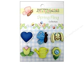 Earrings 7/8 in: Buttons Galore Button Spring Fling Garden Bunny