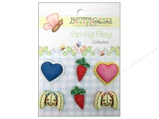Earrings 7/8 in: Buttons Galore Button Spring Fling Bunny Food