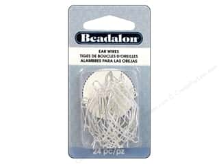 beadalon earring: Beadalon Ear Wires Kidney 35mm Silver Plated 24pc.