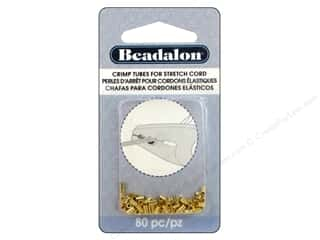 Weekly Specials Pepperell Parachute Cord: Beadalon Crimp Tubes for Stretch Cord 0.5 mm Gold 80 pc.
