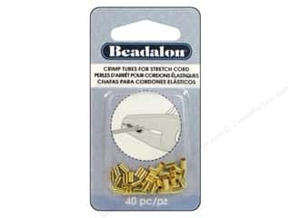 Weekly Specials Pepperell Parachute Cord: Beadalon Crimp Tubes for Stretch Cord 1 mm Gold 40 pc.