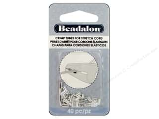 Beadalon Crimp Tubes for Stretch Cord 1 mm Silver Plated 40 pc.