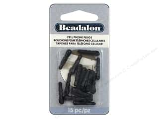 Findings Black: Beadalon Cell Phone Plug With Loop Black 15 pc.