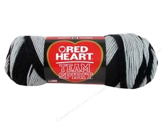 fingering yarn: Red Heart Team Spirit Yarn #0942 Black/Gray