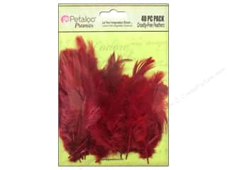 Petaloo Feathers Red Burgundy 40 pc.