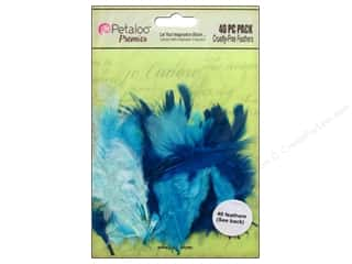 feather trimming: Petaloo Expressions Collection Feathers Teals 40 pc.