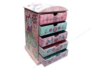 "Gifts & Giftwrap 11"": Punch Studio Boxes Organizer Chest Tall 5 Drawer Owlettes"