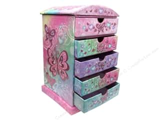 Boxes and Organizers Gifts & Giftwrap: Punch Studio Boxes Organizer Chest Tall 5 Drawer Butterfly Rainbow