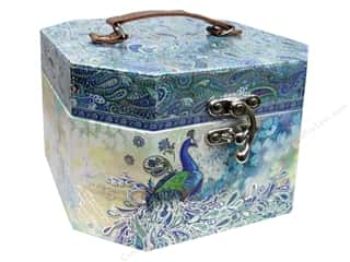 Trays Scrapbooking Gifts: Punch Studio Boxes Organizer Octagon Vanity Case Paisley Peacock