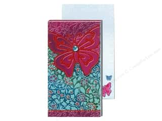 Magnets Punch Studio Decorative Magnet: Punch Studio Pocket Note Pad Large Metallic Red Butterfly