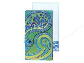 Foil Green: Punch Studio Pocket Note Pad Large Blue Foil Paisley