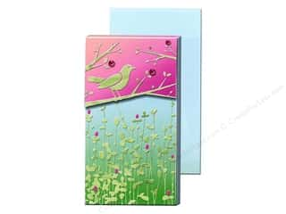Magnets Punch Studio Decorative Magnet: Punch Studio Pocket Note Pad Large Green Foil Bird