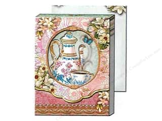 brown ink pad: Punch Studio Pocket Note Pad Window Tea Time (2 sheets)