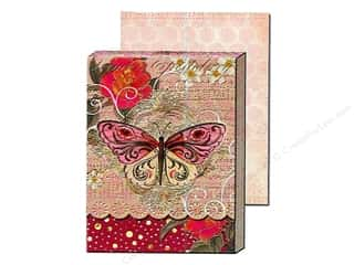 brown ink pad: Punch Studio Pocket Note Pad Window Pink Swirl Butterfly (2 sheets)
