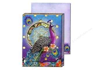 brown ink pad: Punch Studio Pocket Note Pad Window Purple Peacock (2 sheets)