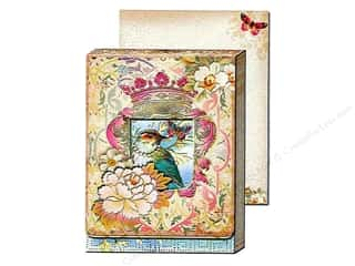 brown ink pad: Punch Studio Pocket Note Pad Window Pastel Bird (2 sheets)