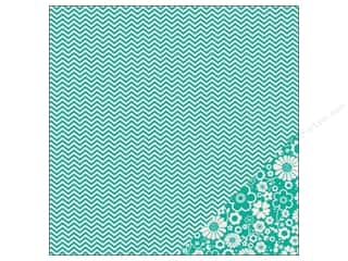 Pebbles Paper 12x12 Basics Aqua Chevron (25 piece)