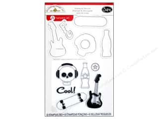 Music & Instruments Clearance: Sizzix Framelits Die 6 PK with Stamps Boys Only by Doodlebug