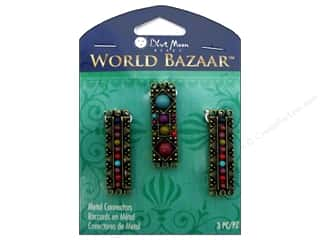 Bead Metal: Blue Moon Beads Metal Connectors 3 pc. World Bazaar Oxidized Brass Rectangles