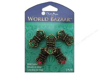 crimped clearance craft: Blue Moon Beads Metal Connectors World Bazaar Oxidized Brass Bow Ties 5 pc.