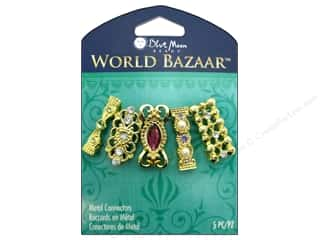 crimped clearance craft: Blue Moon Beads Metal Connectors World Bazaar Gold 2 Loop 5 pc. Assorted