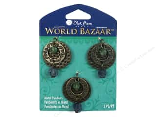 Clearance Blue Moon Pendants: Blue Moon Beads Metal Pendant World Bazaar Round Hammered Oxidized Brass 3 pc.