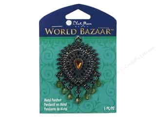 Charms Black: Blue Moon Beads Metal Pendant World Bazaar Black Nickel Fancy Teardrop