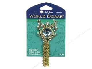 Blue Moon Beads $4 - $5: Blue Moon Beads Metal Pendant World Bazaar Blue Cabochon with Tassel
