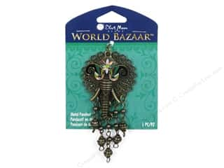 "Brass Rings 12"": Blue Moon Beads Metal Pendant World Bazaar Oxidized Brass Elephant Filigree"