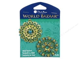 Charms and Pendants Blue Moon Beads Pendant: Blue Moon Beads Metal Pendant World Bazaar Blue & Gold Round Metal Filigree 2 pc.